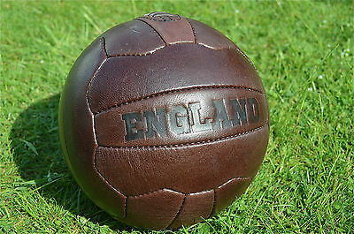 Vintage style embossed brown leather England football soccer ball footy