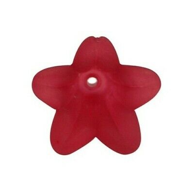 Packet 30 x Red Lucite 12 x 16mm Flower Beads HA26665