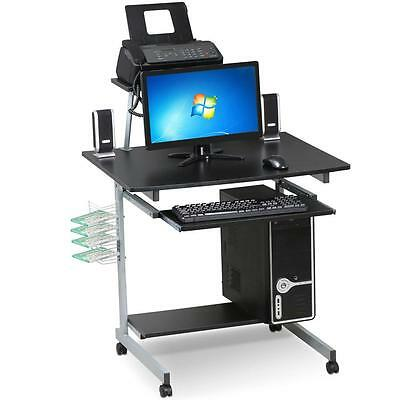 Mobile Compact Corner Computer Cart Desk Laptop Table with Keyboard Tray Black