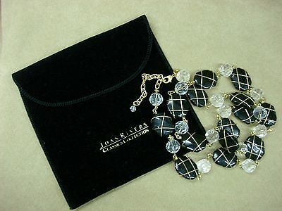 "Vintage Joan Rivers Caged Black Glass & Faceted Crystal 40"" Necklace! Elegant!!"