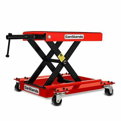 Motorcycle jack scissor lift dolly mover ConStands M red Motorbike