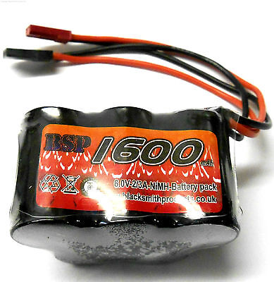 BSP RC Electric Model 6v 1600mah Ni-MH Rechargeable Battery Pack JST JR Hump x 1