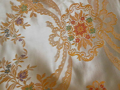 Antique Vintage French Floral Cartouche Satin Bed Cover Brocade Jacquard Fabric