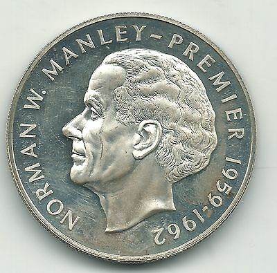 High Grade Proof 1974 Jamaica Silver Five Dollars Coin-.6044 Asw-May180