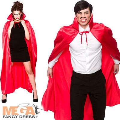 Deluxe Collared Satin Red Cape Fancy Dress Halloween Vampire Devil Adult Costume