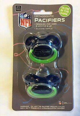 Seattle Seahawks GLOW IN THE DARK Baby Infant Pacifiers NEW 2 Pack gift