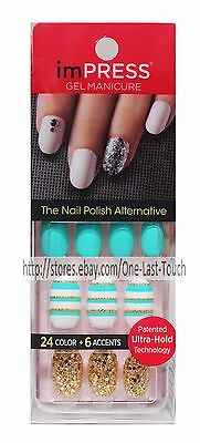 KISS imPRESS Press-On Manicure GOSSIP GIRL 30 Nails+Accent GREEN+WHITE+GOLD Oval