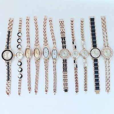 10pcs Bulk Lot Wholesale Rose Gold Lady Women Watch Dress Wristwatches JB6T