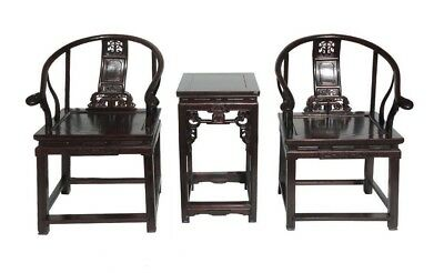 Chinese Antique Rosewood Horseshoes Back Armchair Set cs551