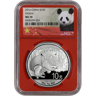 2016 China Silver Panda (30 g) 10 Yuan - NGC MS70 - NGC Red Core Holder