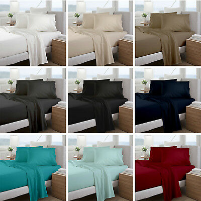 1000TC Microfiber Flat Fitted Sheet Set -Single/Double/Queen/King/Super Size Bed