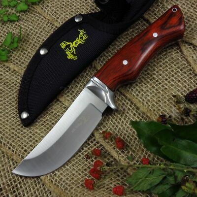 FIXED BLADE KNIFE Elk Ridge Hunting Brown Wood Full Tang w/ Sheath ER-545BW