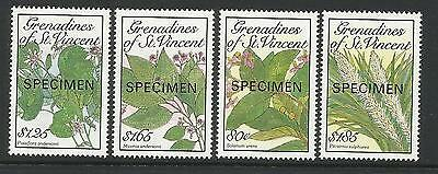 ST VINCENT GRENADINES 1989 FLOWERS FROM BOTANICAL GARDENS OPT 4v MNH