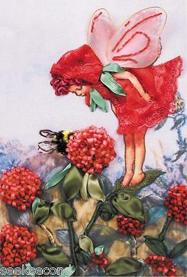 Ribbon Embroidery Kit Lovely Flower Fairy in Red Needlework Craft Kit RE5002