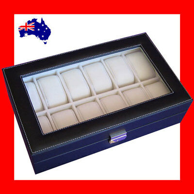 Minor Defect Premium Lockable Glass Lid Watch Holder Case | AUSSIE Seller