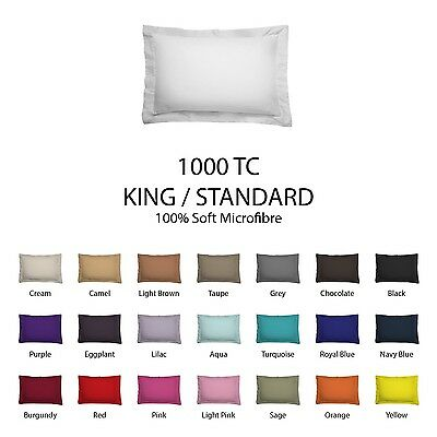 Pair (2) KING / STARNDARD Size Pillowcases - 1000TC Microfibre Plain Colour