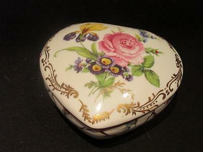 """Royal Europe Hand Painted Vintage Heart-Shaped Trinket Box """"Shabby"""" Floral"""
