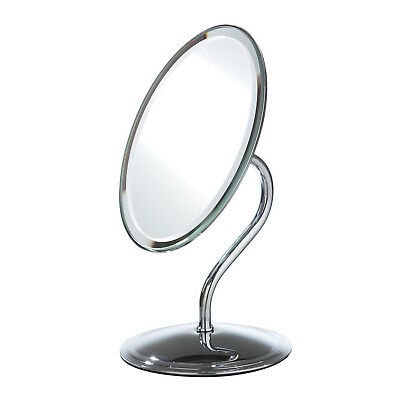 Free Standing Oval Chrome Cosmetic Bathroom Shaving Make Up Vanity Swivel Mirror