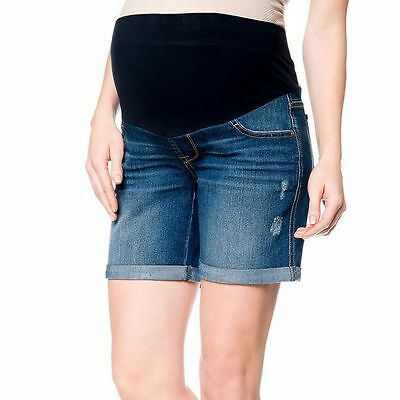 MATERNITY - Oh Baby by Motherhood™ MID-BELLY Distressed Jean Shorts Medium/M $40