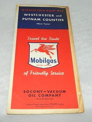 VTG 1952 Mobilgas Mobil Gasoline Westchester & Putnam Counties New York Road Map