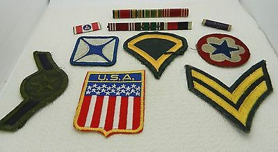 Vintage Lot of 10 Military Patches & Pins Bar Misc Branches World War 2 & Later