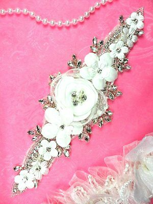 DH53 Floral 3D Applique White Satin Flower Crystal Rhinestone Silver Beaded