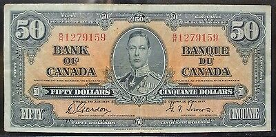 BANK OF CANADA 1937 - $50 BANK NOTE - Prefix B/H - Signed Gordon & Towers