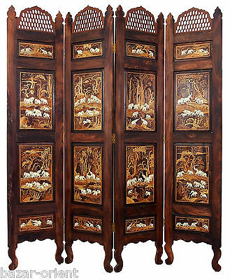 antik Holzintarsien Paravent Raumteiler Stellwand Antique indian anglo Screen