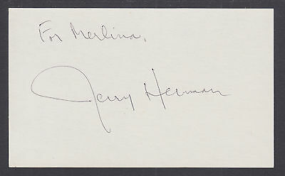 Jerry Herman, American Composer & Lyricist, signed 3x5 card. Hello Dolly, Mame
