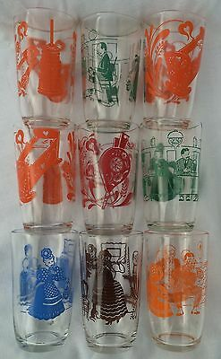 Vintage Swanky Swigs 1950's Juice Glasses Victorian Ladies Glassware Set of 9