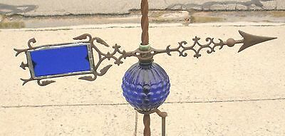 Vintage Iron Electra Wind Vane With New Cobalt Blue Glass Insert.