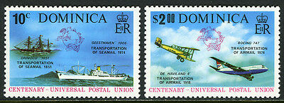 Dominica 418-419, MNH. UPU, cent. Transportation: Seamail, Airmail, 1974