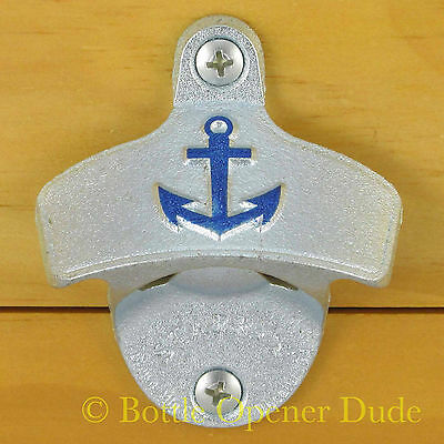 Embossed ANCHOR Starr X Wall Mount Stationary Bottle Opener Nautical - NEW!!