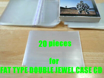 Open Mouth Outer Plastic Sleeves for CD FAT TYPE DOUBLE Jewel Cases 20 pieces!