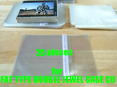 Resealable Outer Plastic Sleeves for FAT TYPE DOUBLE CD Jewel Cases 20 pieces!