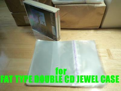 Resealable Outer Plastic Sleeves for FAT TYPE DOUBLE CD Jewel Cases 100 pieces
