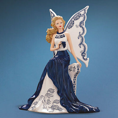 Allure of the Graceful Willow Angel Magic of Blue Willlow Figurine Bradford