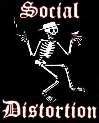 SOCIAL DISTORTION drinking smoking skeleton in tophat STICKER **FREE SHIPPING**