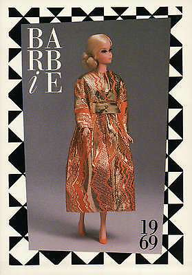 """Barbie Collectible Fashion Trading Card  """" Goldswinger """" Gold Dress Coat 1969"""