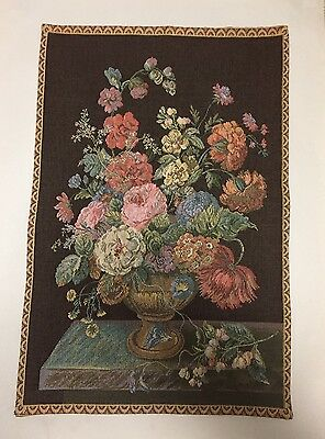 Antique Petit Point Bouquet Of Flowers Tapestry