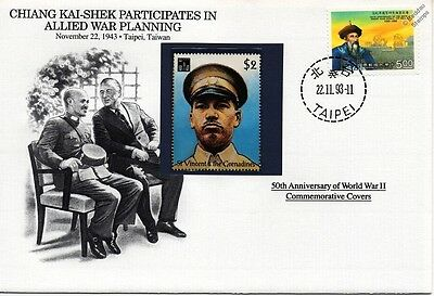 WWII 1943 CHIANG KAI-SHEK Meets Allied Leaders Stamp Cover (Taiwan/Danbury Mint)
