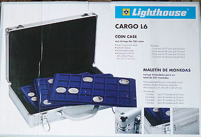 LIGHTHOUSE CARGO L6 Lockable COIN CASE with 6 Velvet Lining TRAYS for 251 COINS