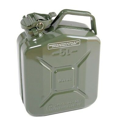 Jerry Can 5 L Litre Metal Fuel Diesel Gasoline Petrol Oil Green Kerosene Army