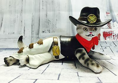 A Purr-fect Hero Cat Figurine Sours in Fur Kitty Cowboy Bradford Exchange