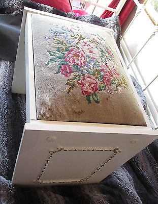 Vintage Embroidered Stool Bedroom/piano Adult Size Mid Century