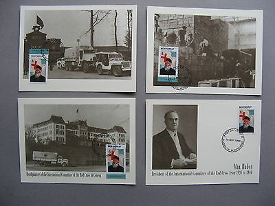 MONTSERRAT, 4x 1st-day card 1998,  Henri Dunant founder of the Red Cross