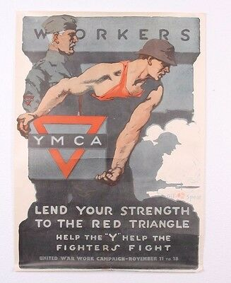 Vintage Original 1918 Wwi Ymca United War Workers Campaign Military Poster