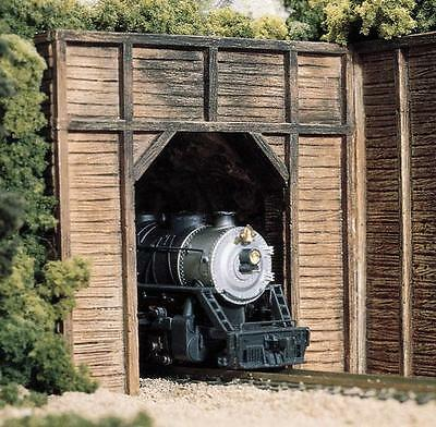N Scale Woodland Scenics 2 x Timber Single Track Tunnel Portals C1154