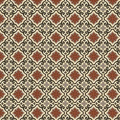 1:12th Dark Red, Black And Grey Ornate Tile Sheet With Yellow Grout