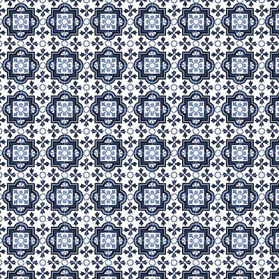 1:12th Mixed Blue Ornate Pattern Tile Sheet With Light Grey Grout